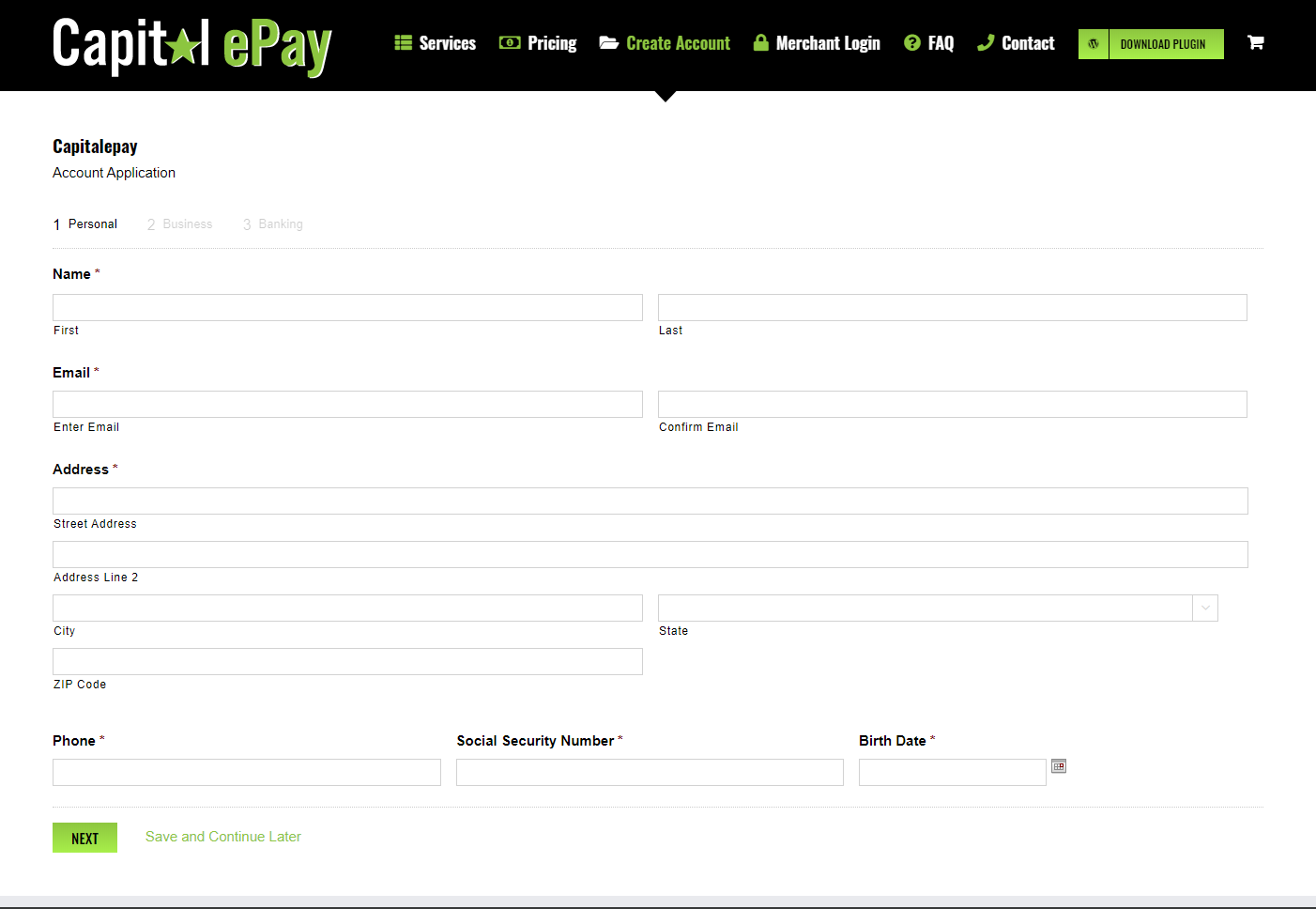 Capital ePay WordPress Credit Card Merchant Account Applicaltion