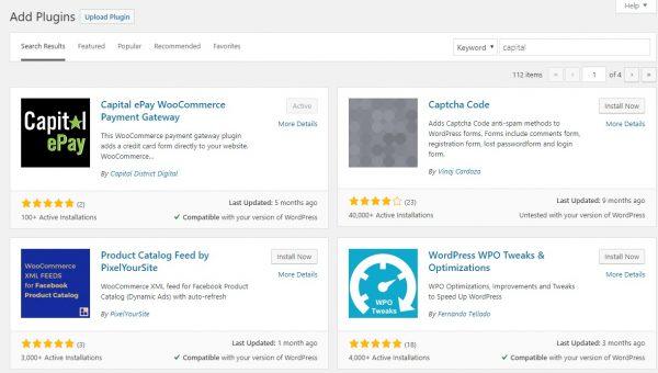 Install the Capital ePay WordPress Credit Card Plugin