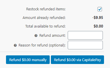 Capital ePay WooCommerce Credit Card Refund