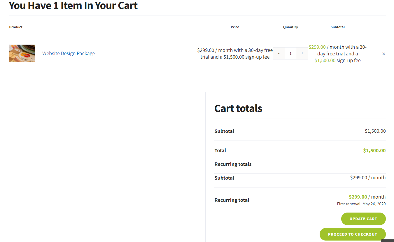 WooCommerce Subscription Payment Cart