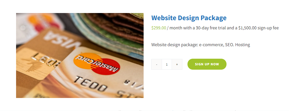 WooCommerce Subscription Product Sign Up